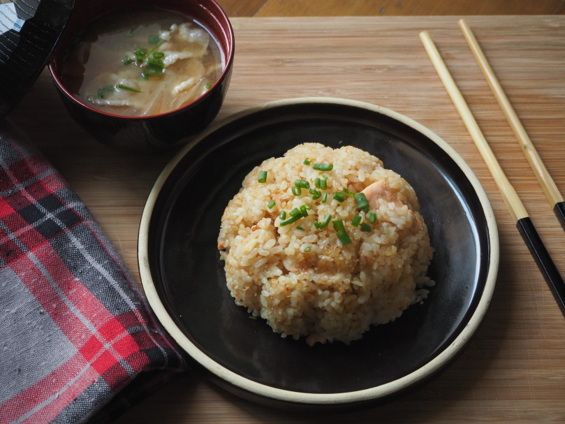 Japanese priyams kitchen for kids japanese garlic fried rice and pork belly radish carrots miso soup ccuart Image collections