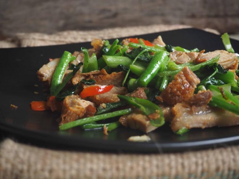 Stir Fried Crispy Pork Belly with Chinese Kale | PRIYAM'S